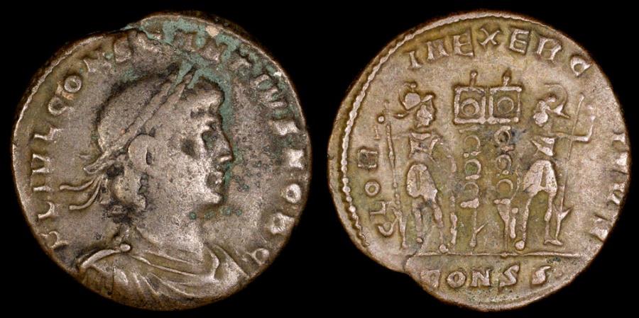 Ancient Coins - Constantius II Ae3 - GLORIA EXERCITVS - Constantinople Mint