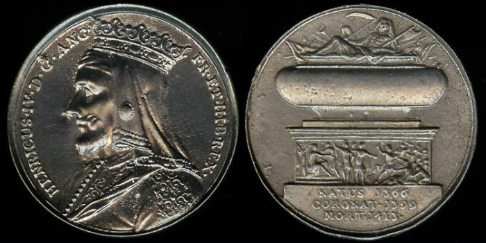"""World Coins - 1731 Great Britain – King HENRY IV By Jean Dassier (From his series """"Kings and Queens of England"""")"""
