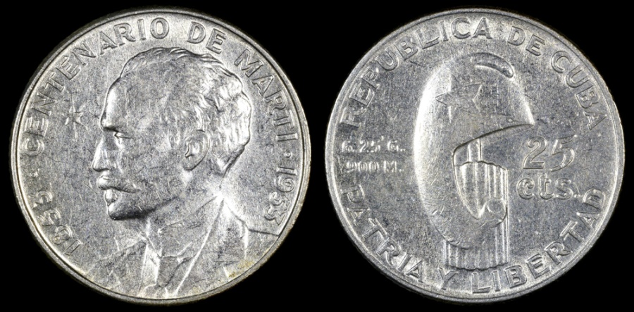"World Coins - 1953 Cuba 25 Centavos ""Birth of Jose Marti Centennial"" Silver Commemorative AU"