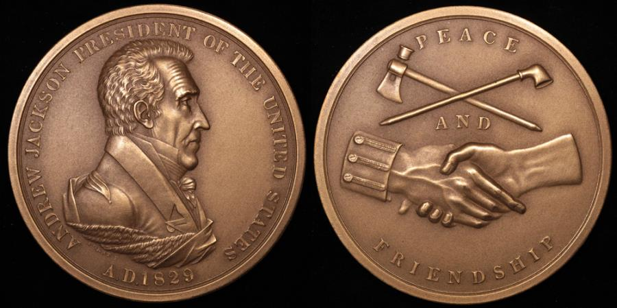 "US Coins - 1829 Andrew Jackson ""Indian Peace Medal"" - Seventh President of the United States (March 4, 1829 to March 3, 1837) - Original US Mint Medal by Moritz Furst and John Reich"