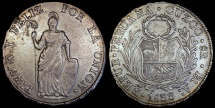 "World Coins - 1833 BoAr Peru 8 Real - ""CUZCO"" - AU"