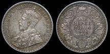 World Coins - 1918 (c) India (British) 1 Rupee XF