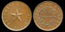 World Coins - 1853 Chile 1 Centavo AU