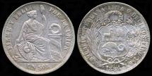World Coins - 1866/56 YB Peru 1 Sol AU