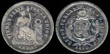 World Coins - 1870/60 YJ Peru 1 Dinero VF