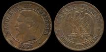 World Coins - 1853 BB France 2 Centimes AU