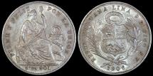 World Coins - 1906 JF Peru 1/5 Sol - Republic Coinage - UNC