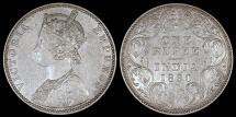 World Coins - 1890 B India (British) 1 Rupee - Queen Victoria - AU Silver