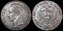World Coins - 1936 Venezuela 5 Bolivares - Republic Coinage - VF