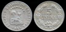 World Coins - 1945 Venezuela 5 Centimos XF