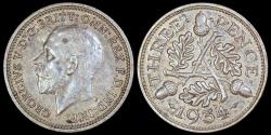 World Coins - 1934 Great Britain 3 Pence - George V - UNC