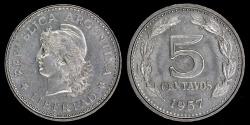 World Coins - 1957 Argentina 5 Centavos UNC