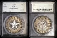 "World Coins - 1915 Cuba 1 Peso - ""Star Peso "" High Relief Star - SEGS XF40"