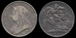World Coins - 1893 LVI Great Britain 1 Crown - Victoria - VF