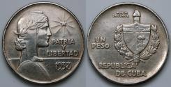 """World Coins - 1938 Cuba 1 Peso - """"ABC"""" Peso - AU Silver"""