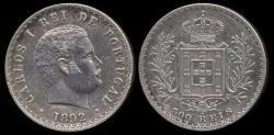 World Coins - 1892/1 Portugal 500 Reis AU