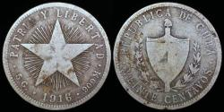 """World Coins - 1916 Cuba 20 Centavos """"Low Relief Star"""" F"""