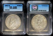 World Coins - 1901 G Baden 5 Mark - Friedrich I - ICG AU50