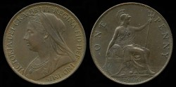 World Coins - 1900 Great Britain 1 Penny AU