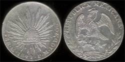 World Coins - 1844 GoPM Mexico (Guanajuato) 8 Real AU