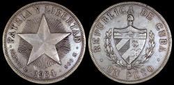 "World Coins - 1934 Cuba 1 Peso - ""Star Peso"" - XF"