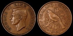 World Coins - 1947 New Zealand 1 Penny AU