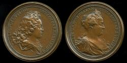 World Coins - 1727  Austria - Leopold I Duke of Lorraine and Bar, and his wife, Madame Elizabeth Charlotte of Orleans by Ferdinand de Saint Urbain