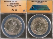 World Coins - 1925 F Weimar Republic 5 Reichsmark - 1000th Year of the Rhineland Silver Commemorative ANACS AU58