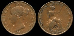 World Coins - 1854 Great Britain 1/2 Penny VF