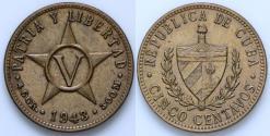 World Coins - 1943 Cuba 5 Centavos - 1st Republic - AU