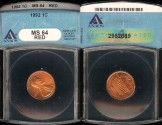 Us Coins - 1992 Lincoln Cent MS64 Red ANACS