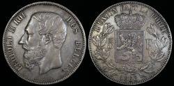 World Coins - 1868 Belgium 5 Franc - Leopold II - AU