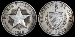 "World Coins - 1915 Cuba 1 Peso ""Star Peso"" High Relief Star - XF"