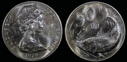 """World Coins - 1979 Cook Islands 50 Cents - FAO """"Bonito Fish"""" - Proof (Only 4,058 Pieces Struck)"""