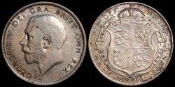 World Coins - 1916 Great Britain 1/2 Crown - George V - XF