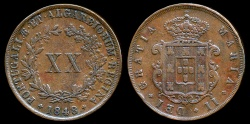 World Coins - 1848 Portugal 20 Reis - Maria II - XF