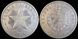 "World Coins - 1934 Cuba 1 Peso ""Star Peso"" - XF"