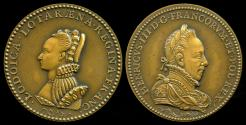 World Coins - 1586 France – Queen Louise de Lorraine and Henry III Laudatory Medal by Claude de Hery and Germain Pilon