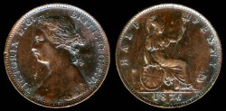 World Coins - 1876 Great Britain 1/2 Penny AU