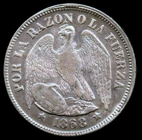 World Coins - 1868 Chile 50 Centavos XF