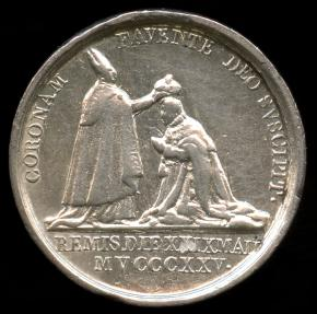 World Coins - 1825 France – Charles X Official Coronation at Reims Medalet by Raymond Gayrard