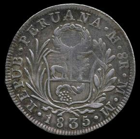 World Coins - 1835 MM Peru 8 Reales VF