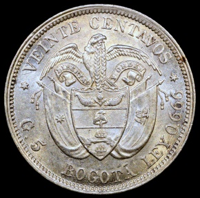 World Coins - 1897 Columbia 20 Centavos - Silver - AU