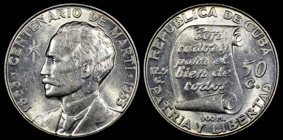 "World Coins - 1953 Cuba 50 Centavos ""Birth of Jose Marti Centennial"" Silver Commemorative AU"
