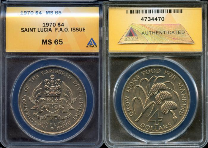 World Coins - 1970 St. Lucia 4 Dollars - F.A.O. Issue - ANACS MS65