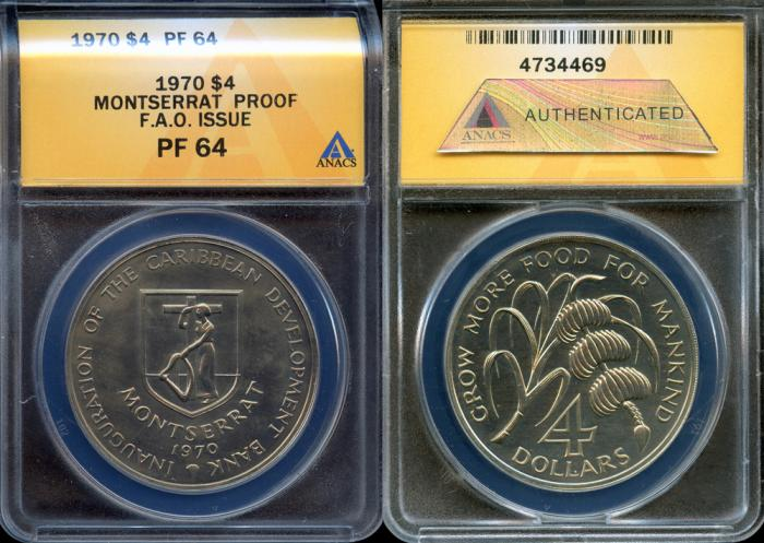 World Coins - 1970 Montserrat - British 4 Dollars - F.A.O. Issue - ANACS PF64 (Only 2,000 Struck)