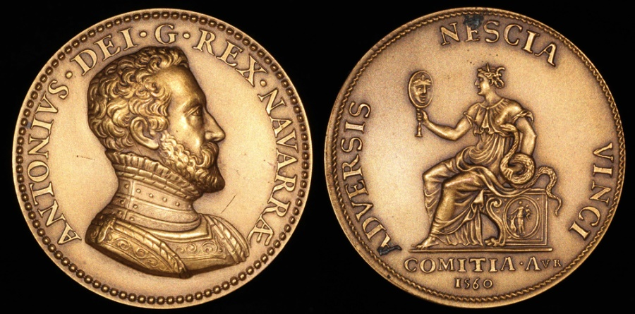World Coins - 1560 France - Antoine of Bourbon King of Navarre, Duke of Vendôme, and Father of Henry IV of France by Etienne De Laune