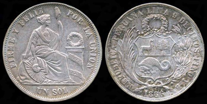 World Coins - 1866/56 YB Peru 1 Sol AU