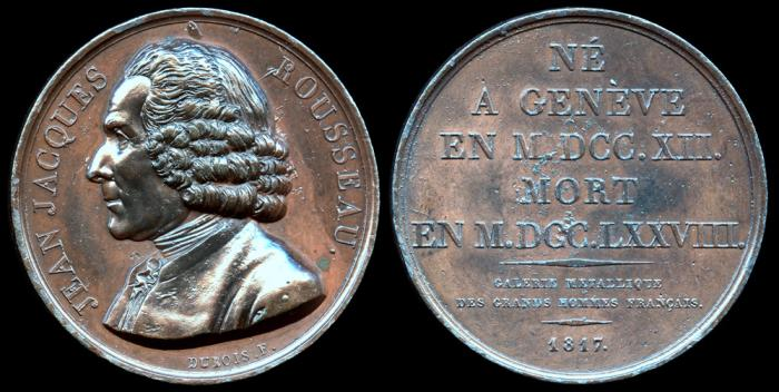 World Coins - 1817  France - Jean-Jacques Rousseau (Swiss-born philosopher, writer, and political theorist whose treatises and novels inspired the leaders of the French Revolution) by Etienne Jacques Dubois