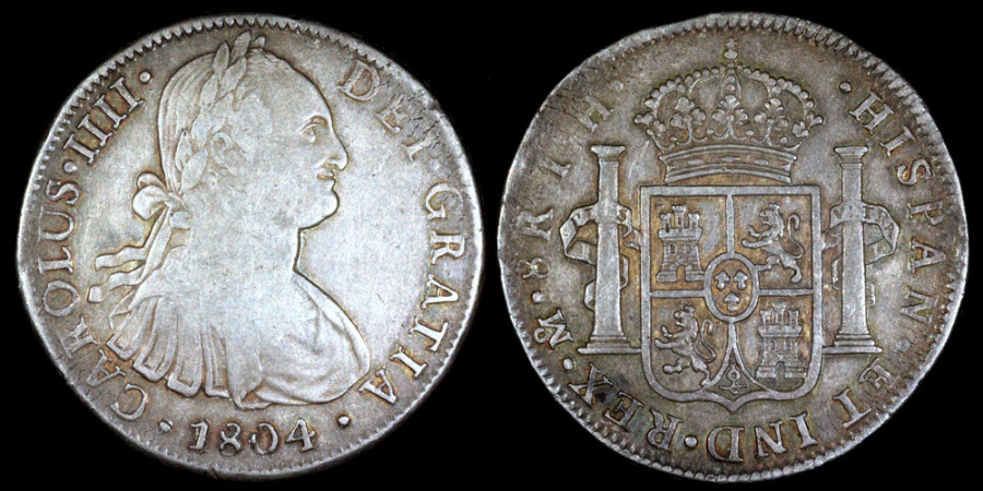 World Coins - 1804 MoTH Mexico 8 Real - Carolus IIII - VF